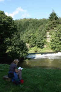 An artist sketching at Gunnislake Weir in 2012