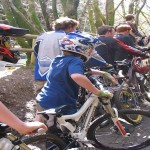 Mountain Bikers wait their turn at the new downhill tracks, Maddacleave Woods - please credit Ruth Davies