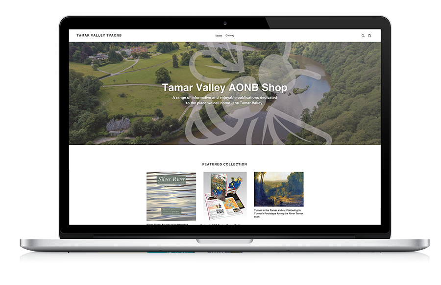 laptop computer showing the Tamar Valley ecommerce website